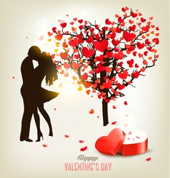 Valentines Day background with a kissing couple vector image vector image