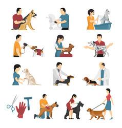 Vet dogs service set vector