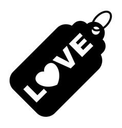 wedding love tag black icon vector image