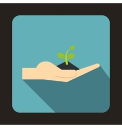 Plant in the hand icon flat style vector