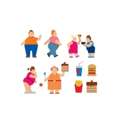 Fat people flat silhouette icons vector