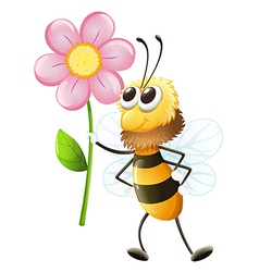 A bee holding a flower vector image