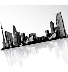 Black and white panorama of cityscape placed in vector image