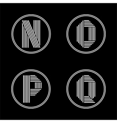 Capital letters n o p q from white stripe in vector