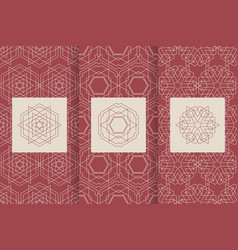 Set of seamless patterns in red color with logo vector