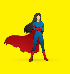 Super hero woman standing arms across the chest vector
