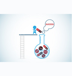 Businessman insert material into test tube vector