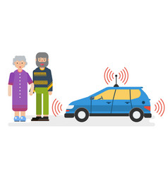 Car with satellite control for the elderly couple vector