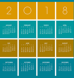 2018 creative colorful calendar vector image