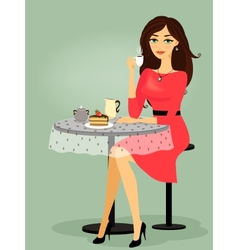 Girl in the cafe blank promo vector