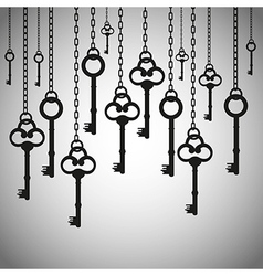 Silhouettes of old keys hanging chain links vector