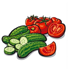 Cucumbers and tomatoes vector