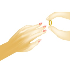 Hands with wedding ring vector