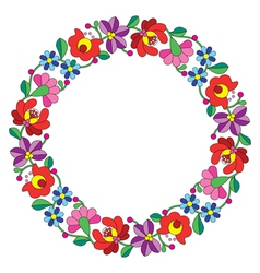 Kalocsai embroidery in circle - hungarian pattern vector