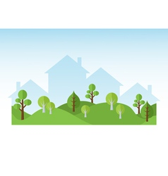 Green trees and houses silhouettes vector