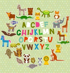 Alphabet for kids from a to z set of funny cartoon vector