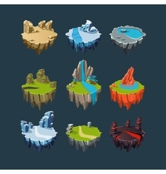 Isometric islands elements for games vector