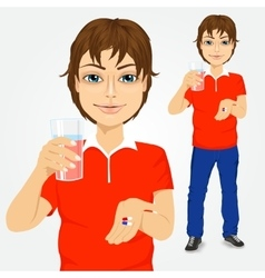 Man taking pills with glass of water vector