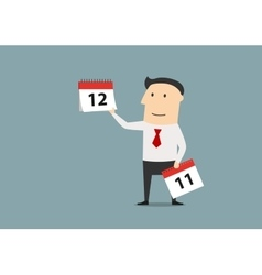 Businessman woth calendar of last month of year vector