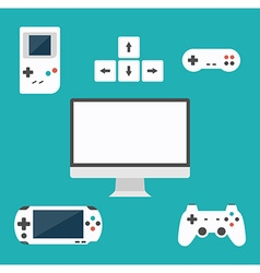 Flat design computer games concept game vector