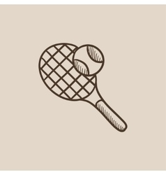 Tennis racket and ball sketch icon vector