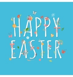 Colorful happy easter greeting card with flowers vector