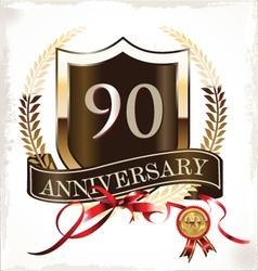 90 years anniversary golden label vector