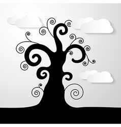 Abstract Black Tree With Paper Clouds vector image vector image