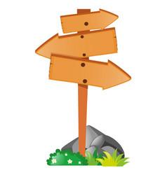 Arrow sign on the wooden pole vector