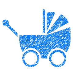 Baby carriage grunge icon vector