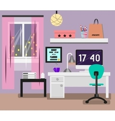 Bedroom Interior flat design Room in pink colors vector image vector image