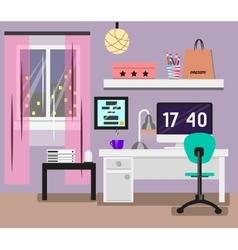 Bedroom interior flat design room in pink colors vector