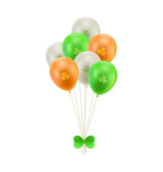 bundle balloons green bow isolated vector image vector image