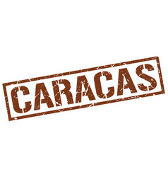 Caracas brown square stamp vector