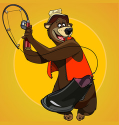 Cartoon character bear fisherman caught the bait vector