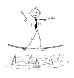 Cartoon of business man walking on tightrope rope vector