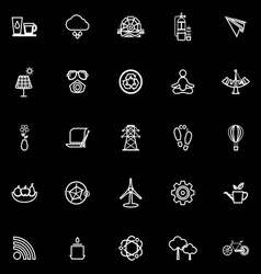 Clean concept line icons on black background vector