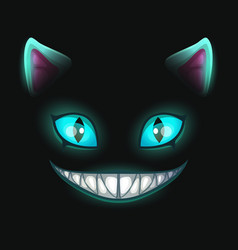 Fantasy scary smiling cat face on black background vector