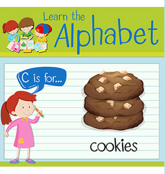 Flashcard letter c is for cookies vector