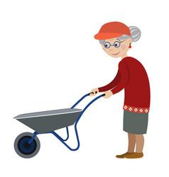 Grandmother with a wheelbarrow vector