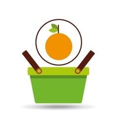 Green basket fresh orange design icon vector