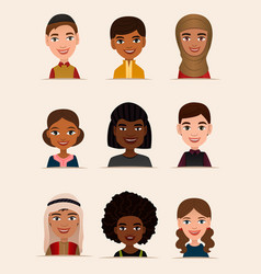 Happy young people avatar icon set vector