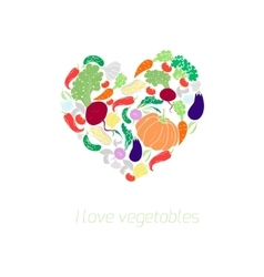 Heart vegetables food color vector image