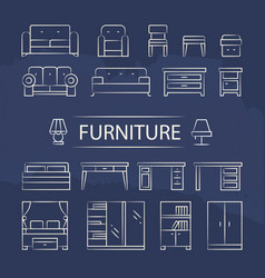 living room furniture and table lamps line icons vector image vector image