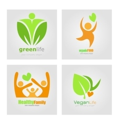 Logos set vegetarian vegan organic food diet vector image