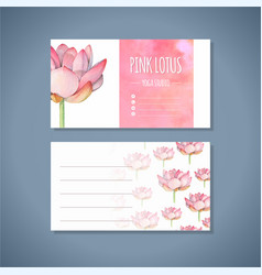 Lotus yoga studio business card template vector