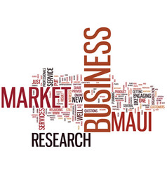 Maui market research text background word cloud vector