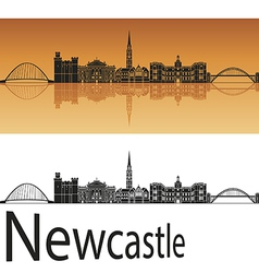 Newcastle skyline in orange background vector image vector image