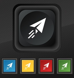 Paper airplane icon symbol set of five colorful vector