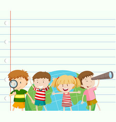 paper template with kids and earth vector image vector image